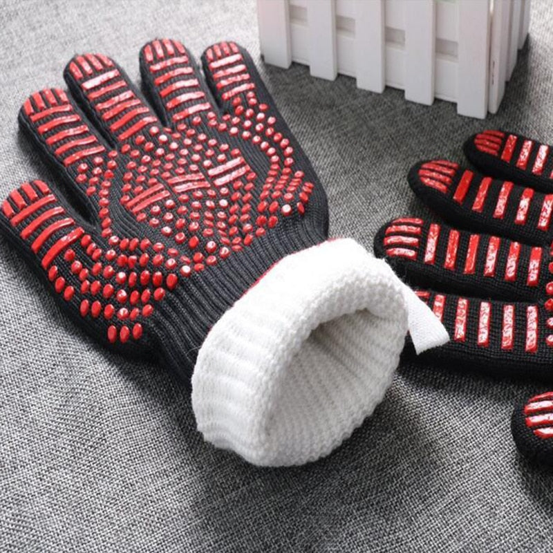 KHGDNOR BBQ Grill Gloves Heat Resistant Grilling Glove Oven Mitts Silicone Insulated Barbecue