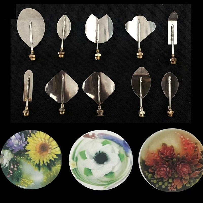 Kitchen Hot Sale 3D Gelatin Jelly Art Pudding Flower Cake Decoration Mold Needle Tool Sets