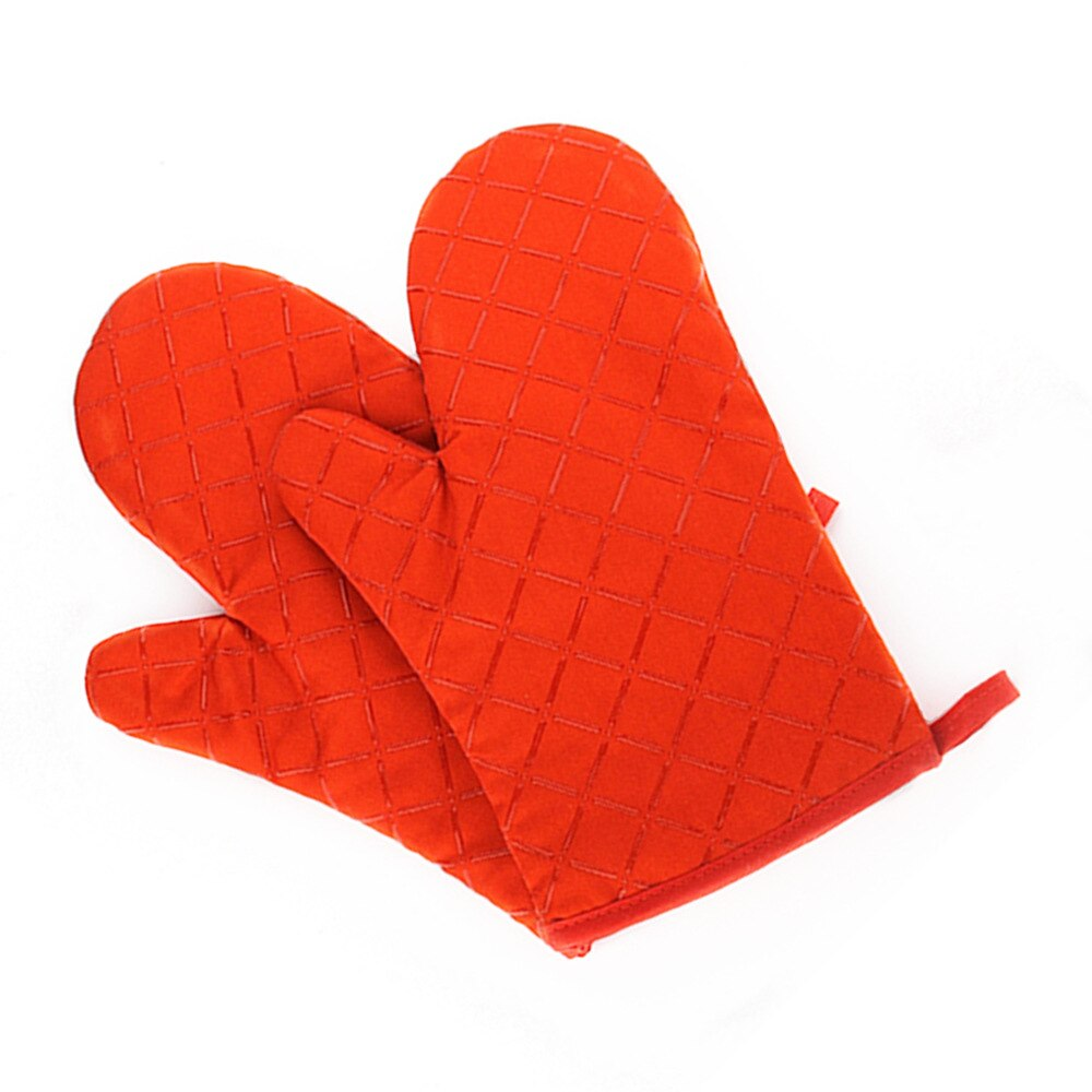 Kitchen Oven Mitts With Non-Slip Silicone Printed Cotton Glove 1 Pair of Heat Resistant Cooking