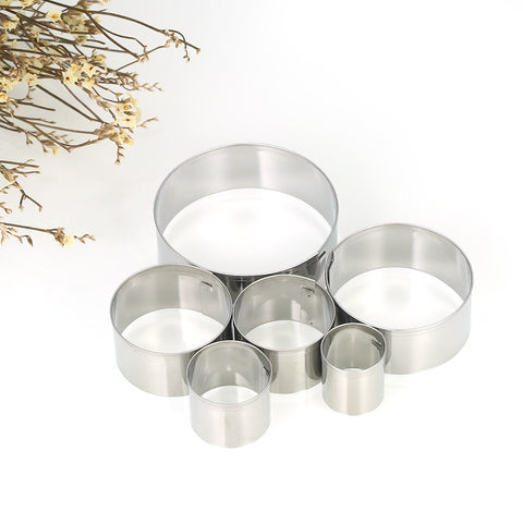 Kitchen Tools 6pcs Round Stainless Steel Cookie Fondant Cutter Biscuit Sandwich Cookie Cutter