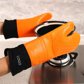 Long Plus Cotton Food Grade Silicone Cloth Gloves Microwave Oven Non-slip Silicone Gloves