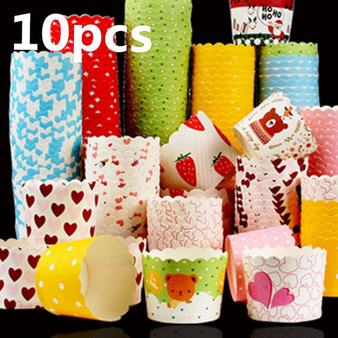 Lot color 10 pcs cupcake liner baking cup cupcake paper muffin cases Cake box Cup tray cake mold