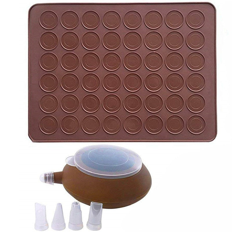 Macarons Silicone Mat Baking Mold Silicone Macaron Kit Pastry Baking Mat and Decorating Piping Pot
