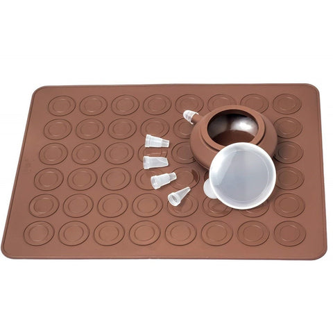 Macarons Silicone Mat Baking Mold Silicone Macaron Kit Pastry Baking Mat and Decorating Piping Pot with 4pcs Nozzles
