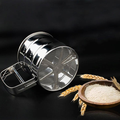 Mechanical Kitchen Accessories Flour Sifter Stainless Steel Baking Pastry Tools Sugar Shaker 1PC New