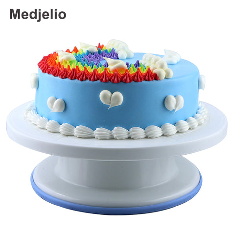Medjelio Food grade ABS Plastic Anti-skid Cake Turntable standard Rotating baking Decorating Tools