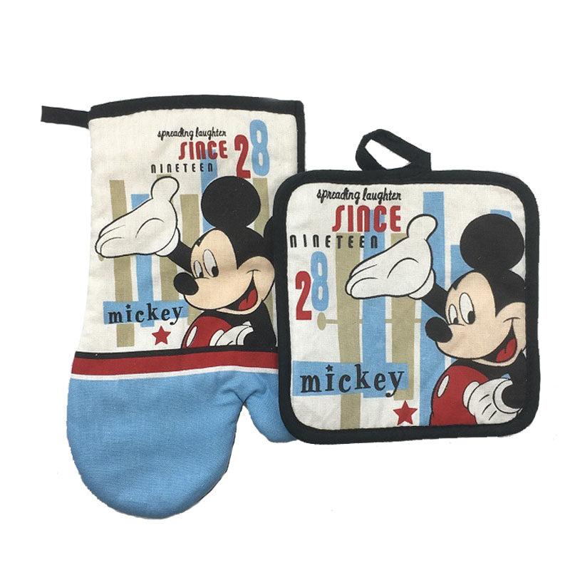 Mickey Mouse Microwave Glove Potholder Bakeware Blue and White 100% Cotton Oven Mitts and
