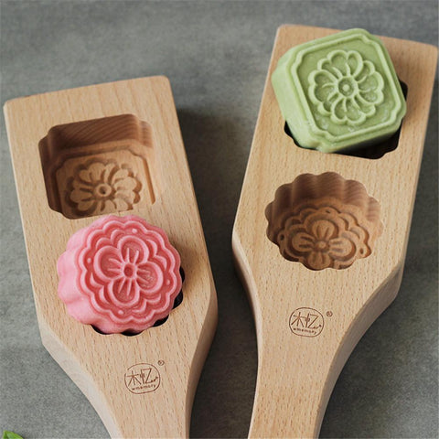 Moon Cake Mould Cookies Mold Mooncake Decoration Mould Wood Carving Flowers Mold