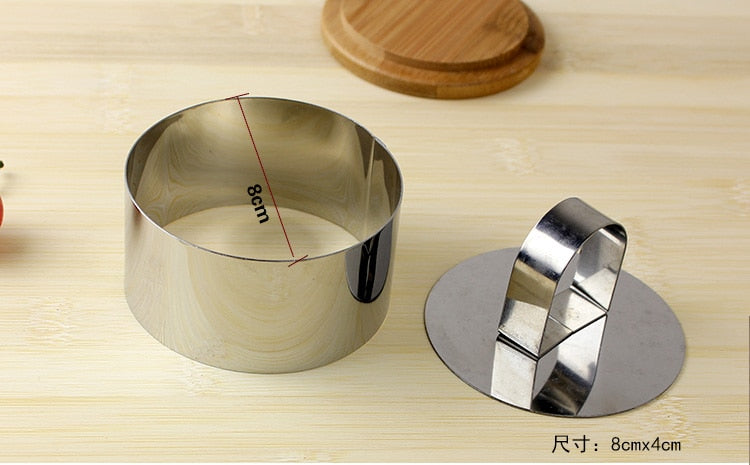 Mousse cake mold Silver Stainless Steel Tiramisu cheese Fondant Cake Decorating Tools Ring Slicer