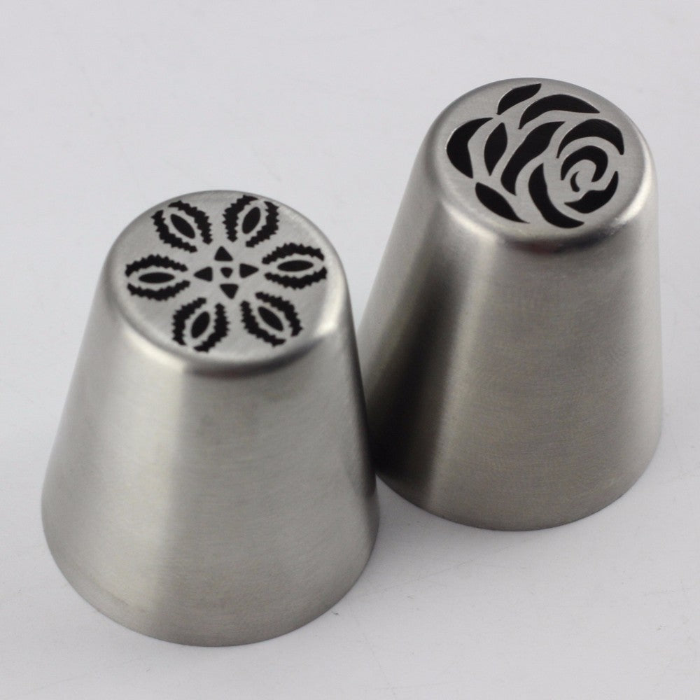 Mujiang 2Pcs Rose Stainless Steel Russian Icing Piping Nozzles Pastry Tips Cake Decorating Dessert