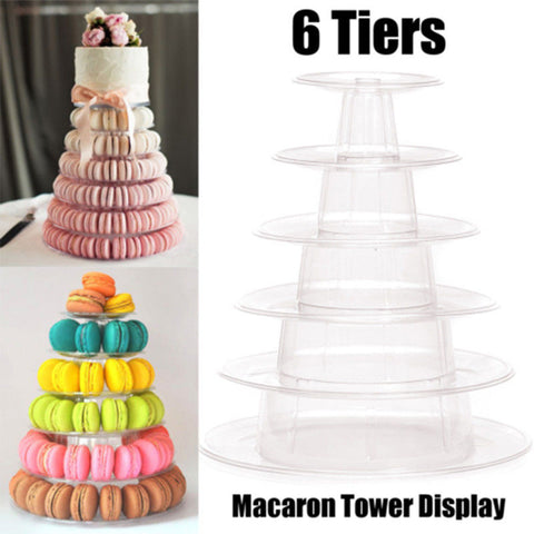 Multi-function Display Stand 6 Tier Round Macaron Tower Cake Stand PVC Tray Display Rack for Wedding