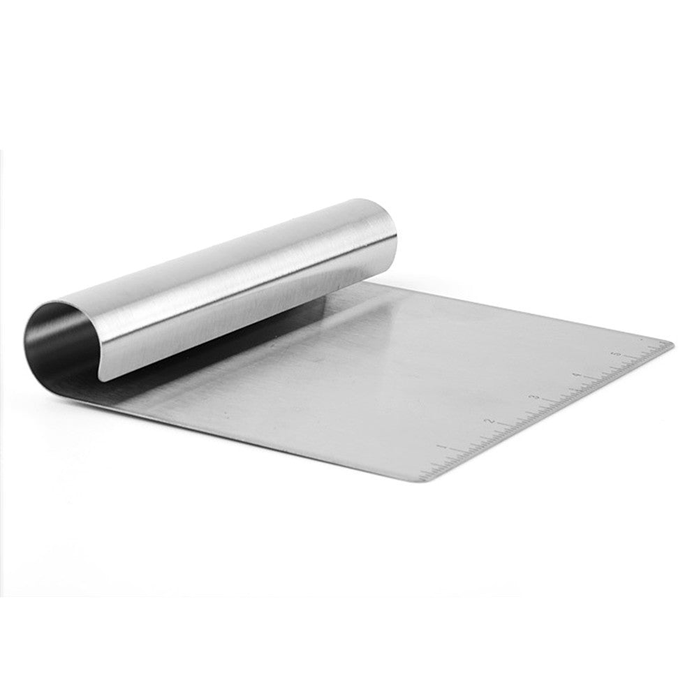 Multifunction Stainless Steel Smoother Edge Cake Scraper With Scale Pizza Cutter Flour Slicer Pastry