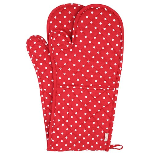 Neoviva Cotton Quilted Heat Resistant Double Oven Glove for Kitchen Baking Polka Dot Crown Blue