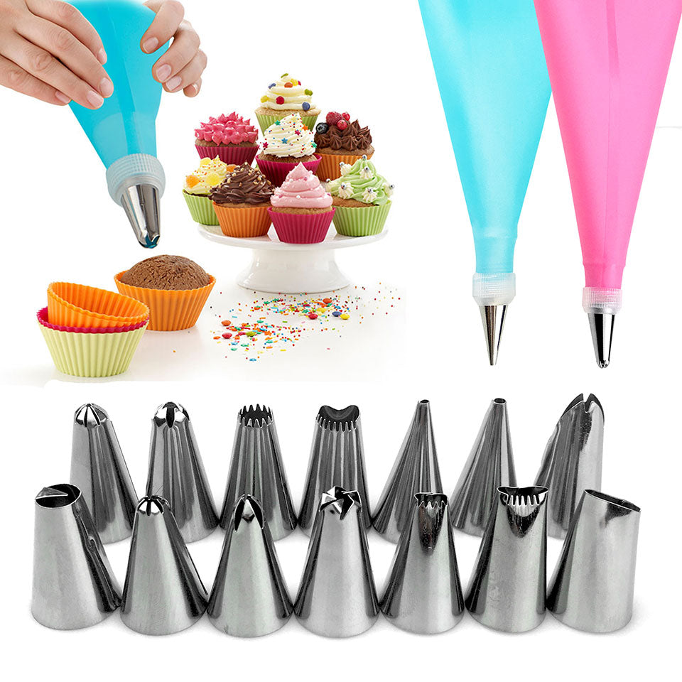 16pcs/Set Confectionery Bag With Nozzles Icing Piping Tip Stainless Steel Cake Decorating Tool
