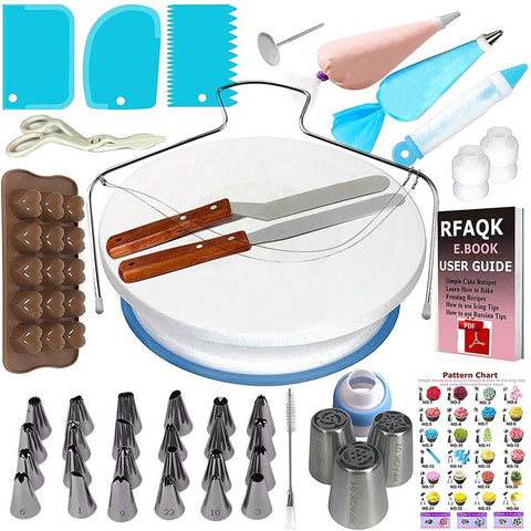 73Pcs/Set Cake Turntable Decorating Mouth Set  DIY Flower Table Fondant Cake Baking Decorating