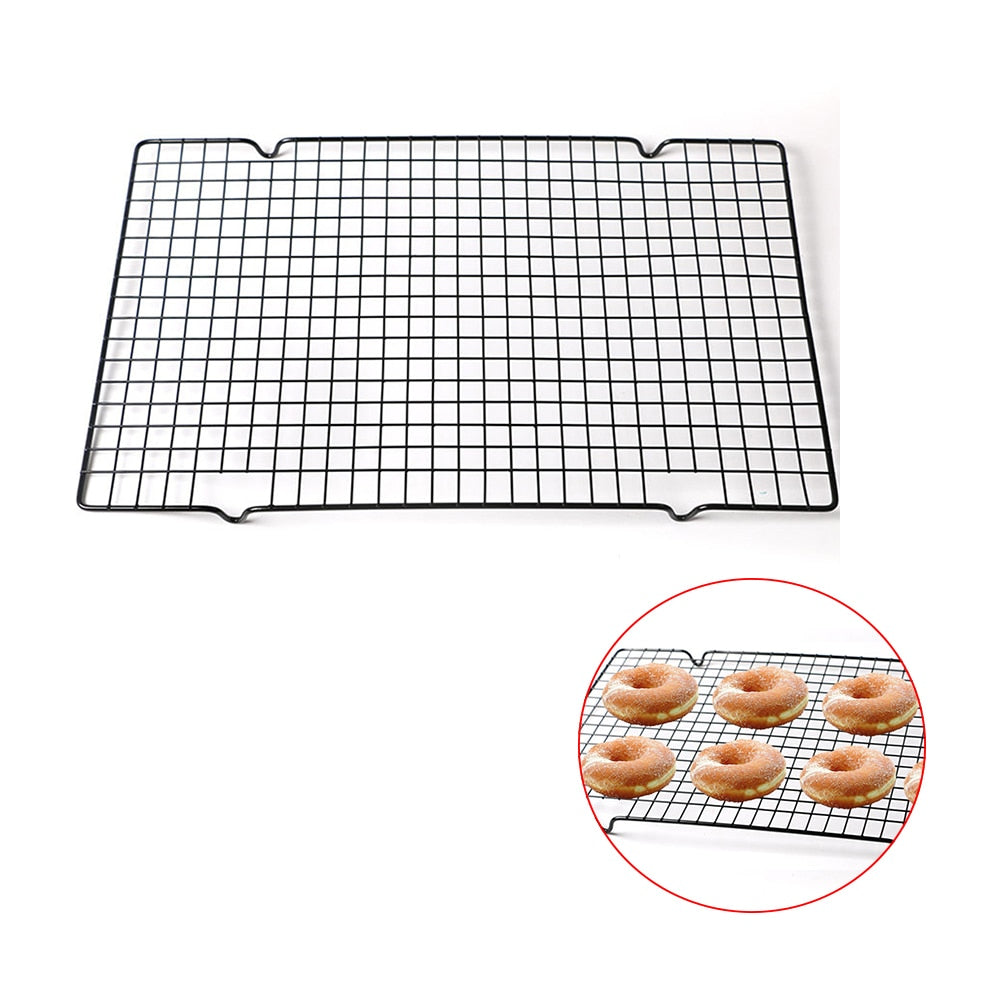 Carbon Steel Cake Cooling Rack Wire Grid Cool Rack Metal BBQ Cake Cooling Shelf Safe Oven