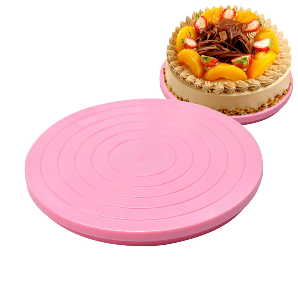 Portabal DIY Plastic Cake Stand Decor Turntable Manually Rotating Round Shaped Cake Mounting