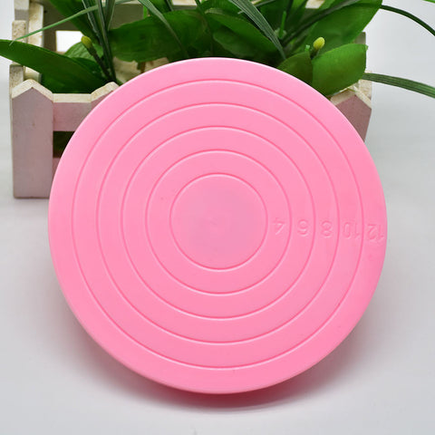 New Portabal DIY Plastic Cake Stand Decor Turntable Manually Rotating Round Shaped Cake Mounting