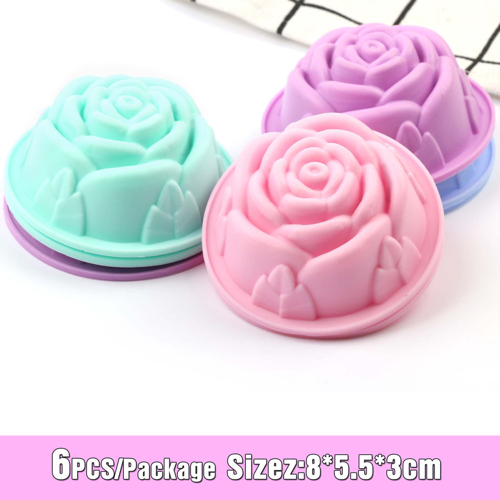 Silicone Mold Heart Cupcake 6pcs Cake Mold Muffin Baking Nonstick and Heat Resistant Reusable