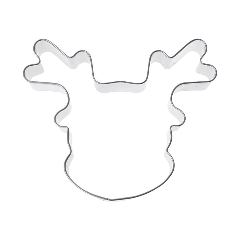 Stainless Steel Cookie Cutter Biscuit Mold Christmas Deer Head Reindeer Mould DIY Tool Fondant