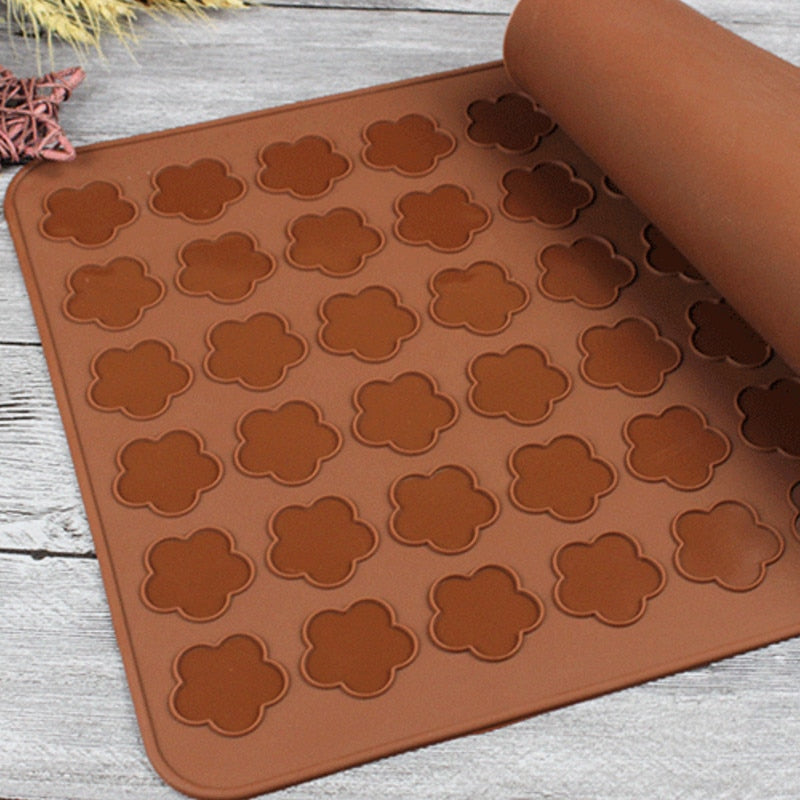 Macaron Silicone mat pads round bear heart flower penguin shaped DIY Macaron moulds tools