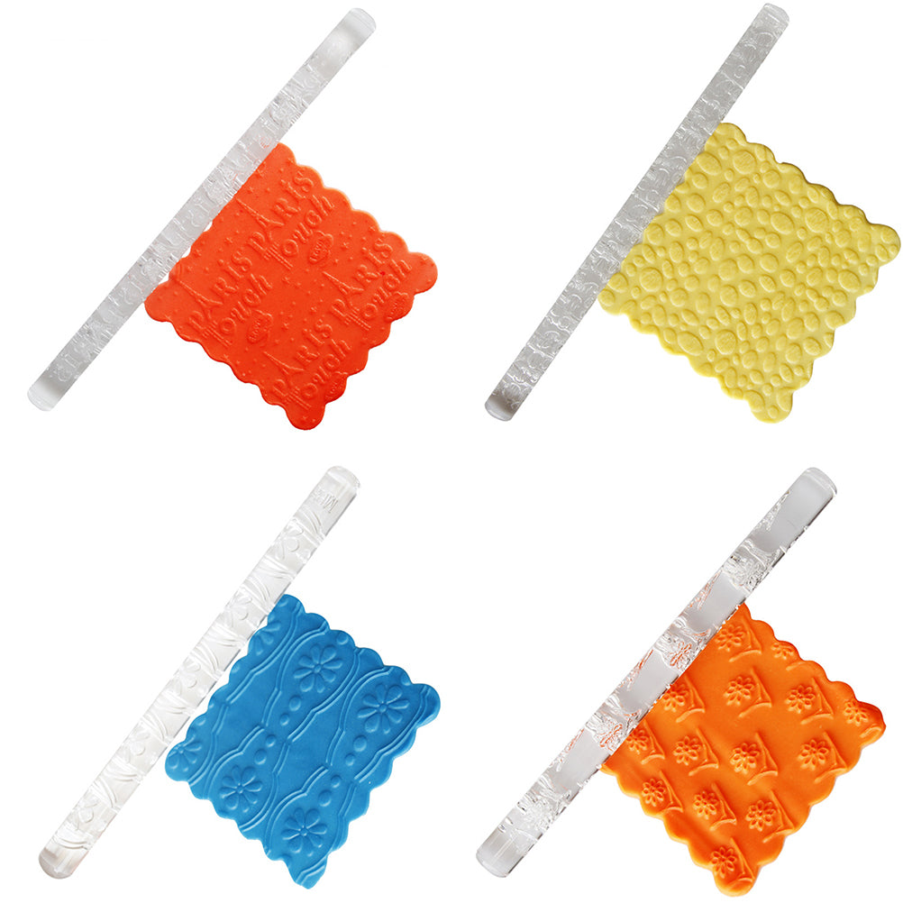 Non-stick Textured Embossing Rolling Pin Fondant Cake Roller Decorating Pastry Tools Cup Top Rolling