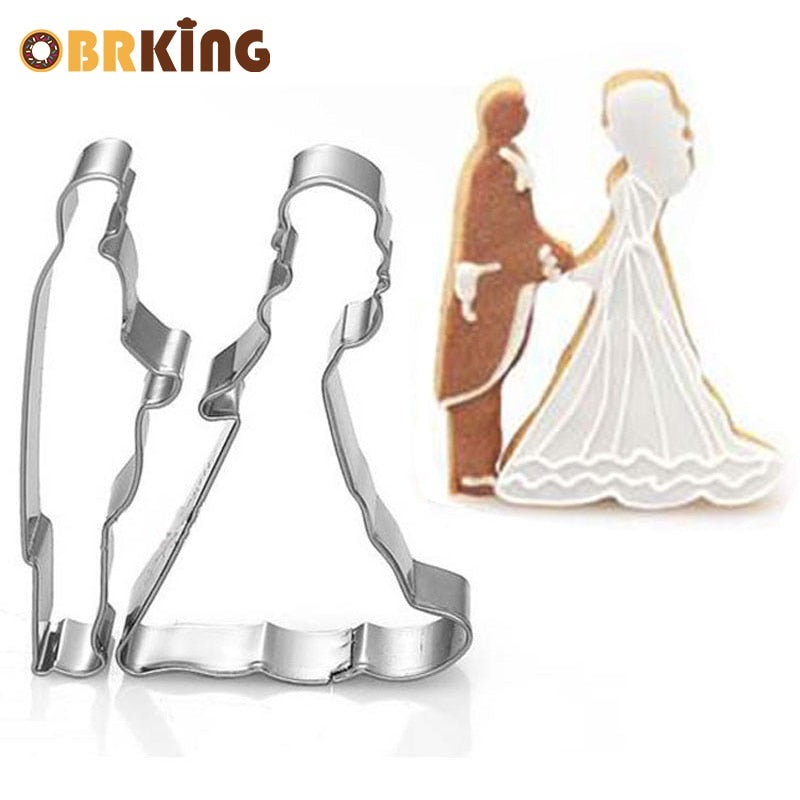 OBRKING Bride And Groom Wedding Cookie Cutter Mold Cake Chocolate Egg Fondant Mould Biscuit Pastry