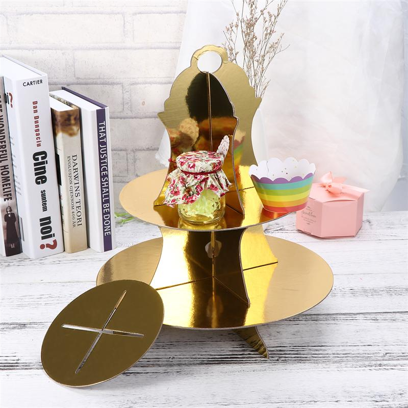 OUNONA Dessert Display Stand Round Detachable Three-Layer Paper Gifts Cake Fruit Cupcake Tower Stand