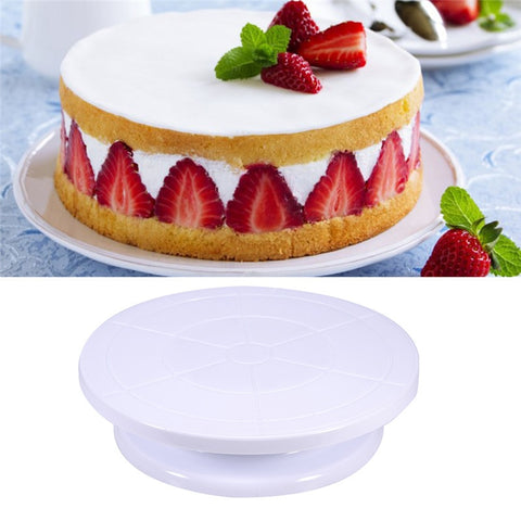 Plastic Cake Plate Turntable Rotating Anti-skid Round Cake Stand Cake Decorating Rotary Table