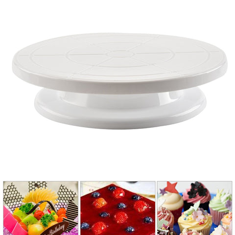 Plastic Cake Plate Turntable Rotating Round Stand Cakes Swivel 360 Degree Revolving Pan Baking