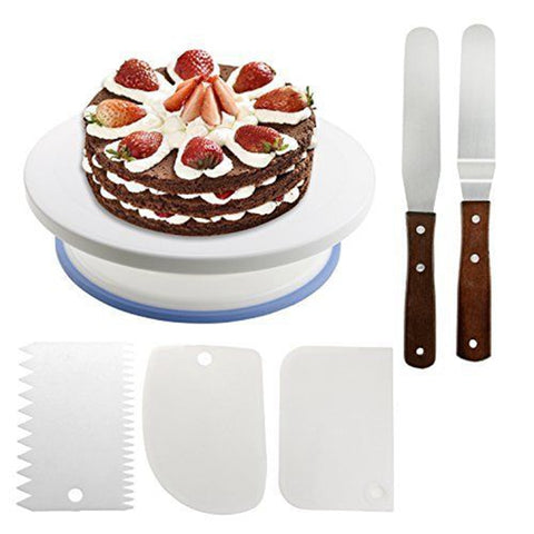 Plastic cake stand Cake Turntable Rotating Plastic Dough Knife Decorating 10 Inch Cream Cake