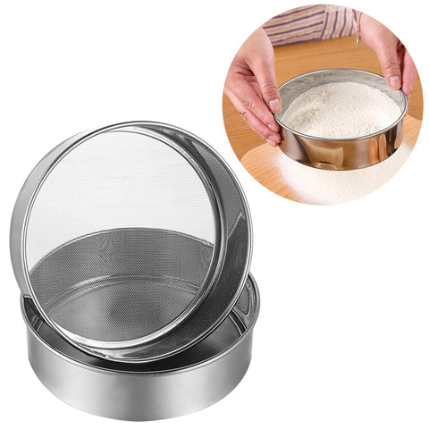 Pure Stainless Steel Flour Sieve colander Powdered Sugar Filter Mesh Sifting Strainer Kitchen Cake