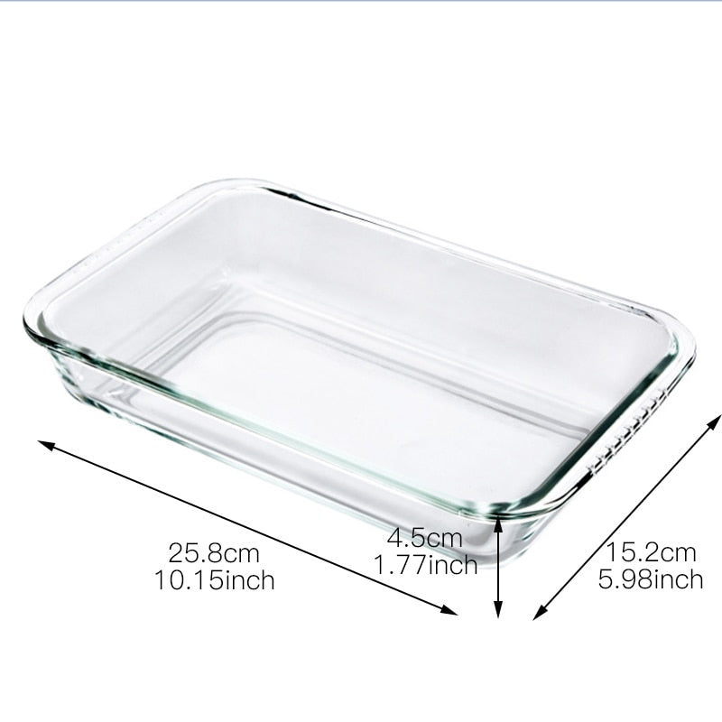 Rectangle Tempered Glass Non-Stick Baking Pan Cake Mould Dish Bread Fish Plate Storage Tray Bakeware