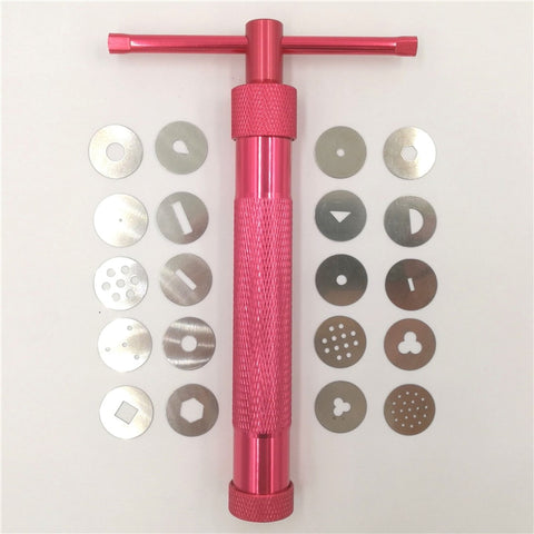 Red Clay Extruders Cake Sculpture Gun With 20 Tips Sugar Paste Extruder Fondant Cake Sculpture