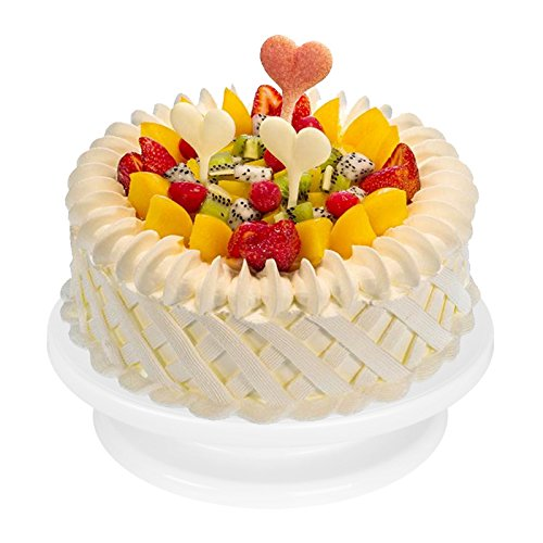 Rotating Cake Turntable (11 Inch) with 2 Icing Spatula and Icing Smoother, Cake Decorating tools,