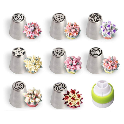 Russian Piping Tips Stainless Steel Piping Nozzles 9 Pcs/Set Cake Decorating Tools DIY Patisserie