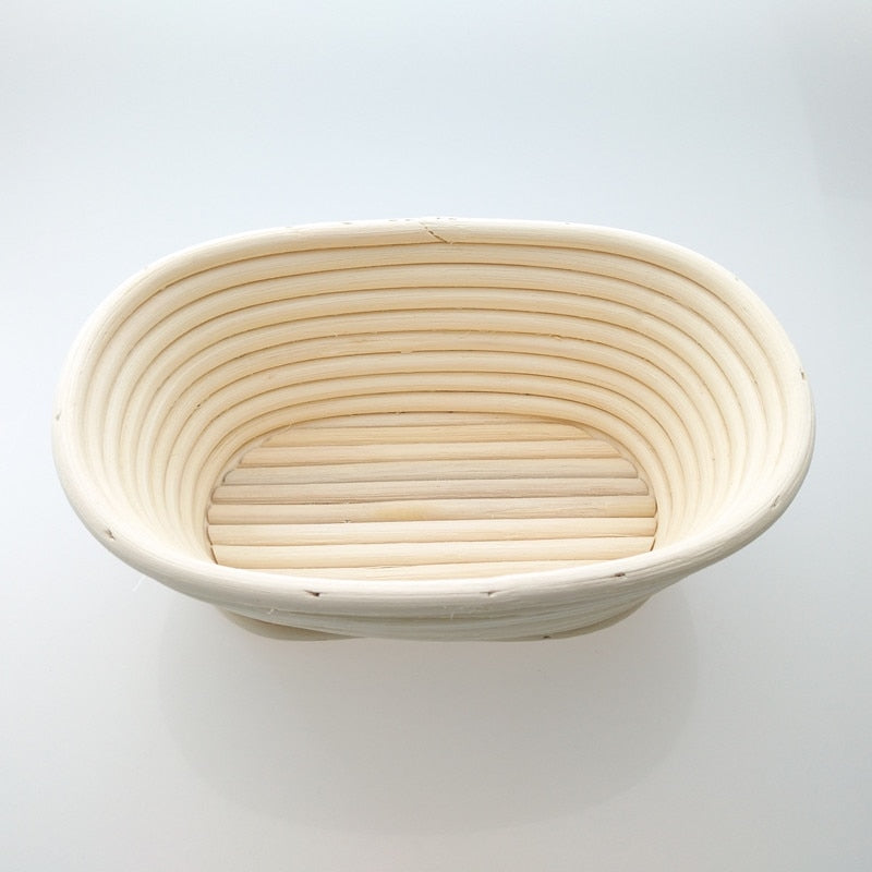 Handmade Oval Rattan Basket And Bread Arc Curved Knife Dough Banneton Brotform Bread