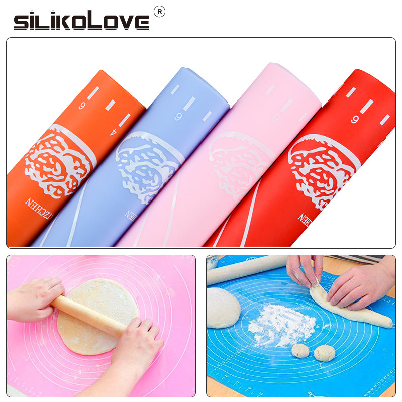 SILIKOLOVE Nonstick Silicone Mat for Rolling Dough Silicone Baking Mat for Paste Flour With Liner