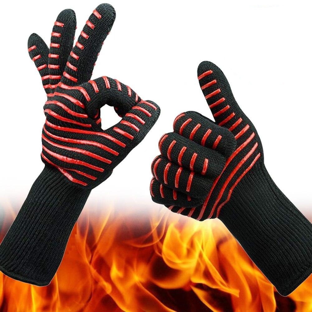 2pcs Silicone Bbq Gloves Oven Gloves Heat Resistant Kitchen Cooking Microwave Oven Gloves