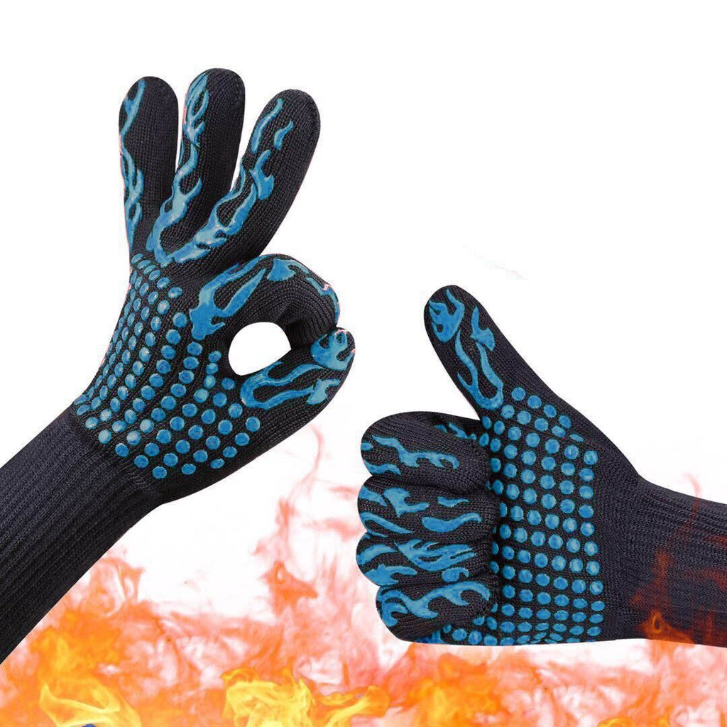 SJ 2pcs Silicone Bbq Gloves Oven Gloves Heat Resistant Kitchen Cooking Microwave Oven Gloves Oven