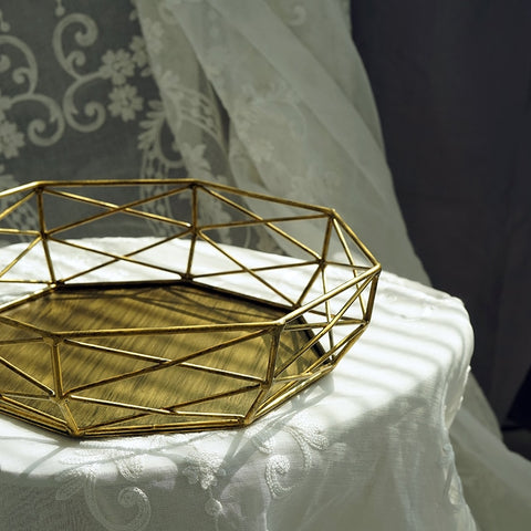 SWEETGO Geometric shape tray vintage gold/silver cake tools for dessert hollow out table