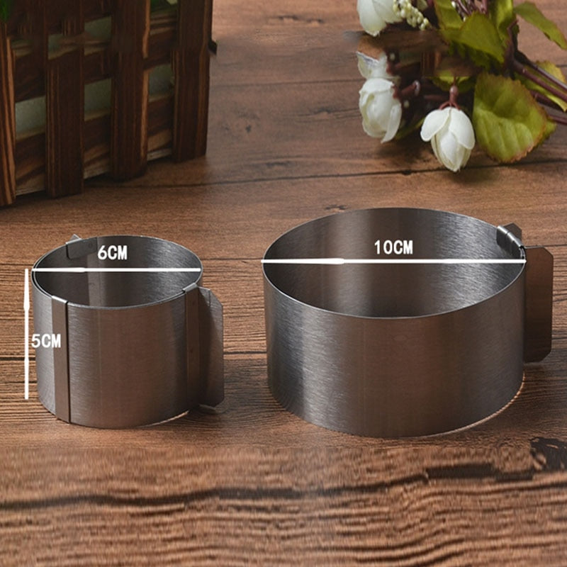 Sale 1Pcs Retractable Stainless Steel Circle Mousse Ring Baking Tool Set Cake Mould Mold Size