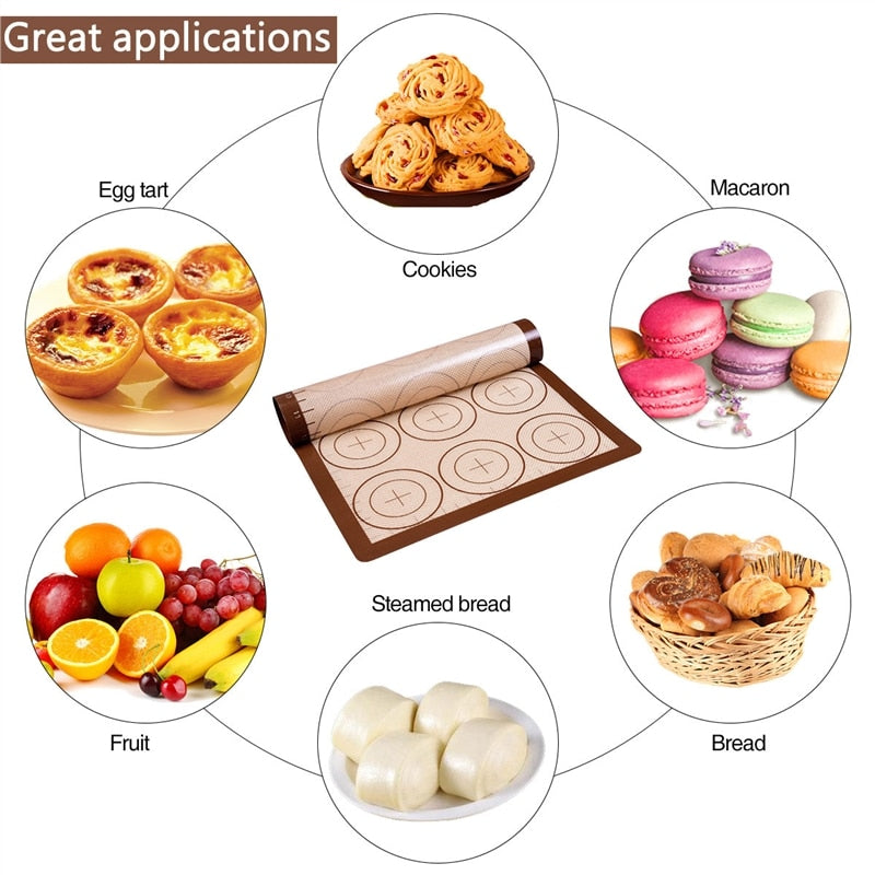 Silicone Baking Mat Slip-proof Heat Resistant Pizza Cake Dough Pastry Kitchen Cooking Gadgets