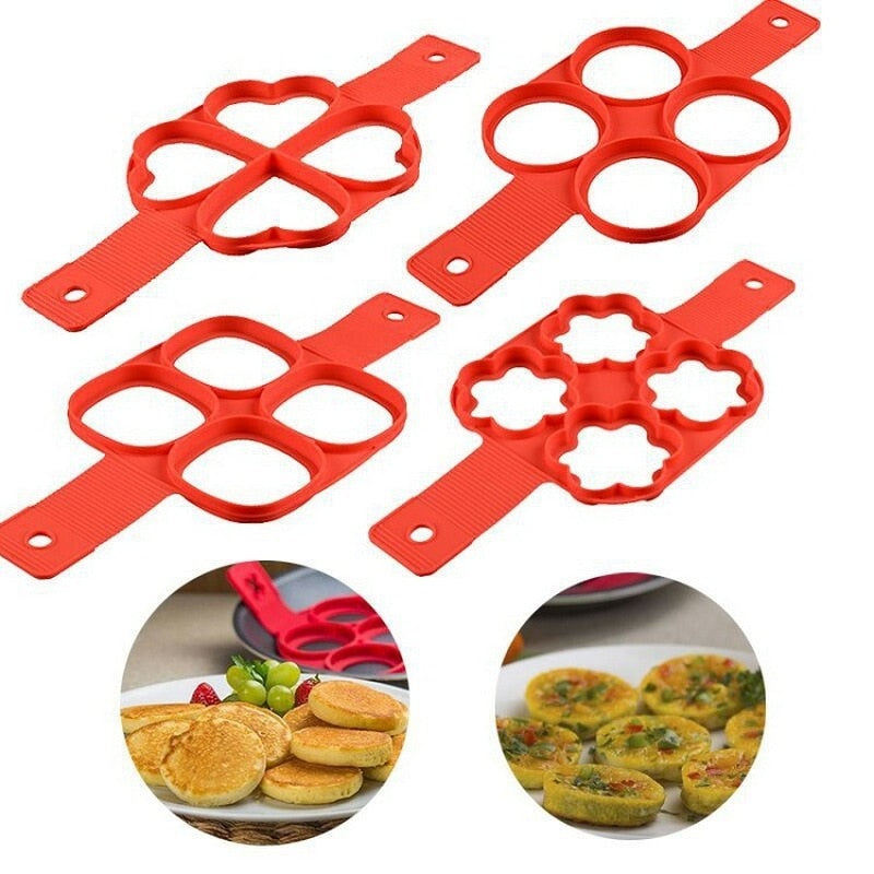 Silicone Fried Egg Ring Maker Non Stick Pancake Maker Cooking Tool Cheese Egg Pan Flip Eggs Mold