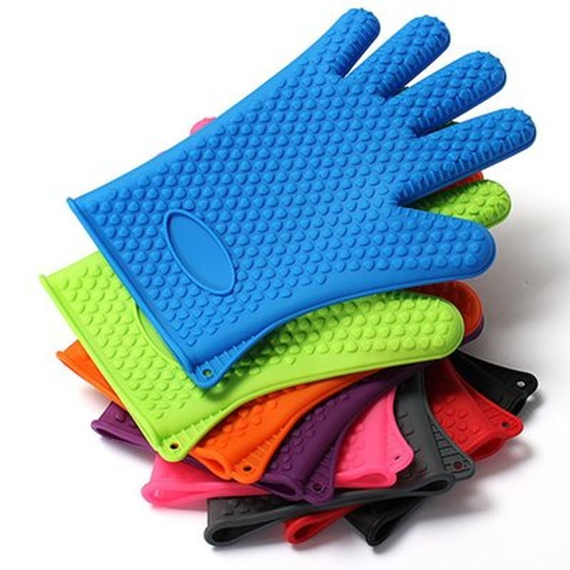 Silicone Glove Kitchen Heat Resistant Gloves Temperature Resistant Gloves Cooking Baking BBQ Oven