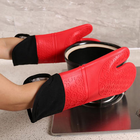 Silicone Heat-Resistant Gloves Cooking Barbecue Gants Kitchen Microwave Mittens Oven Glove Home