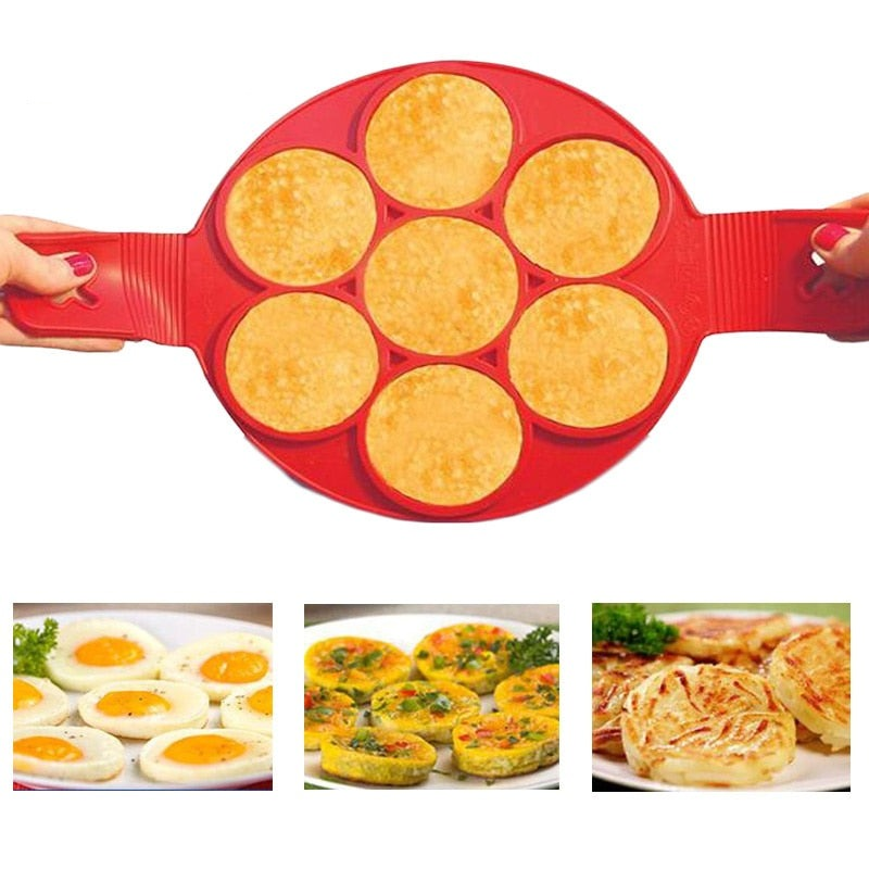 Silicone Pancake Flip Mold Nonstick Flippin' Pancake Maker Egg Ring Shape Mould Omelette Hash Browns