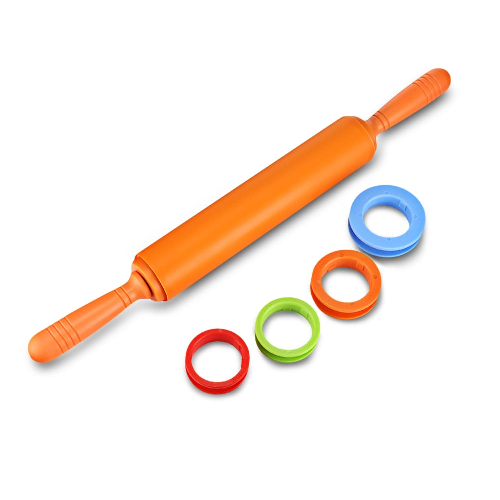 Silicone Rolling Pin Dough Roller with 4 Adjustable Thickness Rings Bakeware With Non-Slip Handle