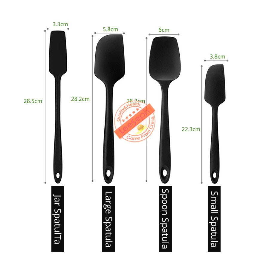 Silicone Spatula Set | 4 Versatile Tools Created for Cooking, Baking and Mixing | One Piece