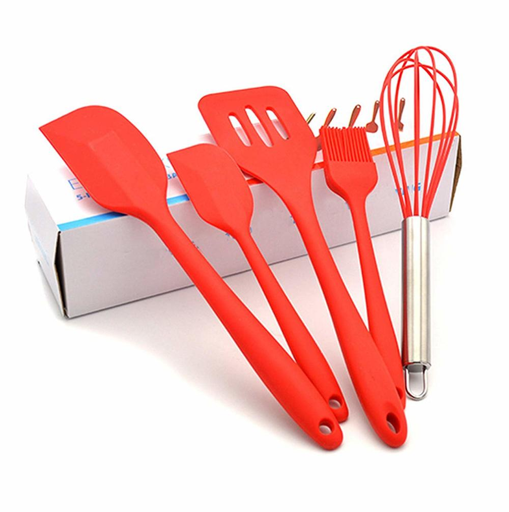 Silicone Spatula Set 5pcs Cake Baking Set Cooking Utensil Supplies Bakeware Include Turners Whisk